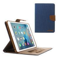 Canvas textilné / PU kožené puzdro na iPad mini / iPad mini 2 / iPad mini 3 - modrý