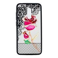 Lace gélový obal s plastovými zády pre Xiaomi Pocophone F1 - ruže