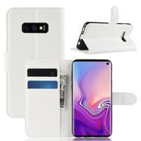 Litch PU kožené peňaženkové puzdro na Samsung Galaxy S10e - biele