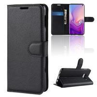 Litch PU kožené peňaženkové puzdro na Samsung Galaxy S10e - čierne