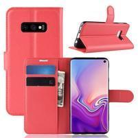 Litch PU kožené peňaženkové puzdro na Samsung Galaxy S10e - červené