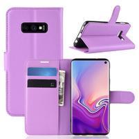 Litch PU kožené peňaženkové puzdro na Samsung Galaxy S10e - fialové