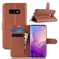 Litch PU kožené peňaženkové puzdro na Samsung Galaxy S10e - hnedé