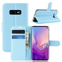 Litch PU kožené peňaženkové puzdro na Samsung Galaxy S10e - modré
