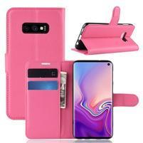 Litch PU kožené peňaženkové puzdro na Samsung Galaxy S10e - rose