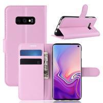 Litch PU kožené peňaženkové puzdro na Samsung Galaxy S10e - ružové