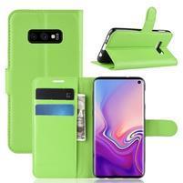 Litch PU kožené peňaženkové puzdro na Samsung Galaxy S10e - zelené