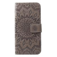 Mandala PU kožené peňaženkové puzdro pre Samsung Galaxy S10 - sivé