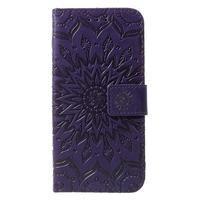 Mandala PU kožené peňaženkové puzdro pre Samsung Galaxy S10 - fialové