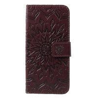 Mandala PU kožené peňaženkové puzdro pre Samsung Galaxy S10 - hnedé