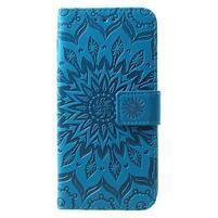 Mandala PU kožené peňaženkové puzdro pre Samsung Galaxy S10 - modré