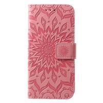 Mandala PU kožené peňaženkové puzdro pre Samsung Galaxy S10 - ružové