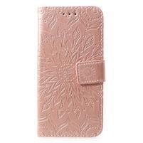 Mandala PU kožené peňaženkové puzdro pre Samsung Galaxy S10 - ružovozlaté