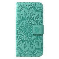Mandala PU kožené peňaženkové puzdro pre Samsung Galaxy S10 - zelené