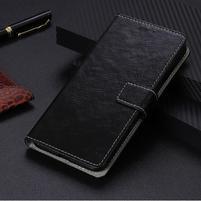 Crazy PU kožené peněženkové puzdro na Xiaomi Mi 9 SE - čierne