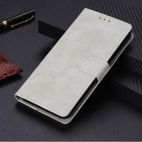 Crazy PU kožené peněženkové puzdro na Xiaomi Mi 9 SE - biele