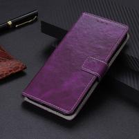 Crazy PU kožené peněženkové puzdro na Xiaomi Mi 9 SE - fialové
