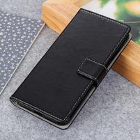 Litch PU kožené peněženkové puzdro pre Xiaomi Mi 9 SE - čierne