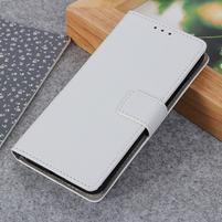 Litch PU kožené peněženkové puzdro pre Xiaomi Mi 9 SE - biele