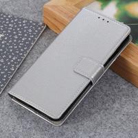 Litch PU kožené peněženkové puzdro pre Xiaomi Mi 9 SE - strieborné