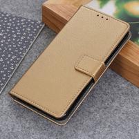 Litch PU kožené peněženkové puzdro pre Xiaomi Mi 9 SE - zlaté