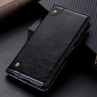 Nappa PU kožené peněženkové puzdro s textúrou na Xiaomi Mi 9 SE - čierne