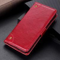 Nappa PU kožené peněženkové puzdro s textúrou na Xiaomi Mi 9 SE - červené