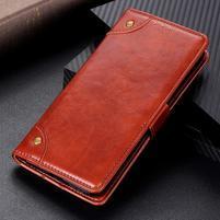 Nappa PU kožené peněženkové puzdro s textúrou na Xiaomi Mi 9 SE - hnedé