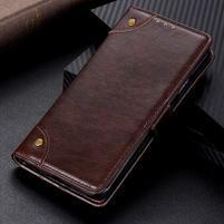 Nappa PU kožené peněženkové puzdro s textúrou na Xiaomi Mi 9 SE - kávové