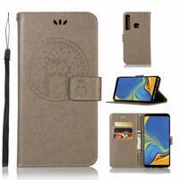 Owl PU kožené peňaženkové puzdro na Samsung Galaxy A9 - sivé