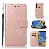 Owl PU kožené peňaženkové puzdro na Samsung Galaxy A9 - ružovozlaté