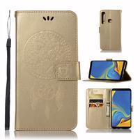Owl PU kožené peňaženkové puzdro na Samsung Galaxy A9 - zlaté