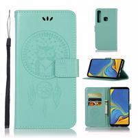 Owl PU kožené peňaženkové puzdro na Samsung Galaxy A9 - cyan