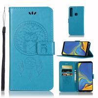 Owl PU kožené peňaženkové puzdro na Samsung Galaxy A9 - modré