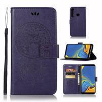 Owl PU kožené peňaženkové puzdro na Samsung Galaxy A9 - fialové