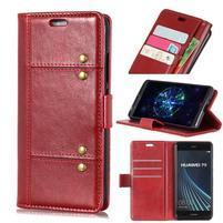 Crazy PU kožené peňaženkové puzdro na Samsung Galaxy A9 - červené