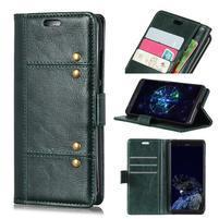 Crazy PU kožené peňaženkové puzdro na Samsung Galaxy A9 - zelené