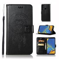 Owl PU kožené peňaženkové puzdro na Samsung Galaxy A9 - čierne