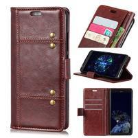 Crazy PU kožené peňaženkové puzdro na Samsung Galaxy A9 - hnedé