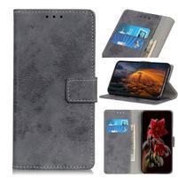 Vintage PU kožené peněženkové púzdro na Samsung Galaxy M30 - šedé