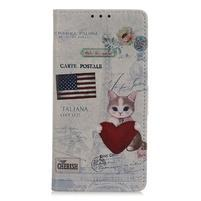 Patty PU kožené peněženkové puzdro na Xiaomi Mi 9 - mačka držiace srdca a americkú vlajku