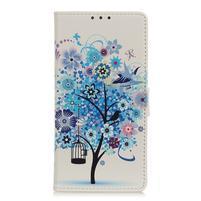 Patty PU kožené peněženkové puzdro na Xiaomi Mi 9 - modrý strom