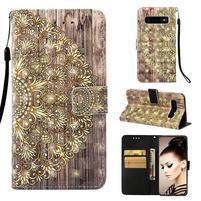 Print PU kožené peňaženkové puzdro pre Samsung Galaxy S10+ - flower