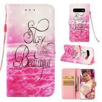 Print PU kožené peňaženkové puzdro pre Samsung Galaxy S10+ - krása