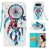 Print PU kožené peňaženkové puzdro pre Samsung Galaxy S10+ - lapač
