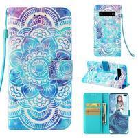 Print PU kožené peňaženkové puzdro pre Samsung Galaxy S10+ - mandala