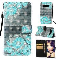 Print PU kožené peňaženkové puzdro pre Samsung Galaxy S10+ - modré kvety