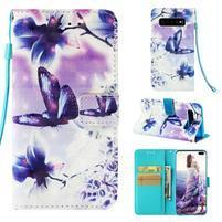 Print PU kožené peňaženkové puzdro pre Samsung Galaxy S10+ - motýľ