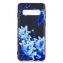 Printy gélový obal na mobil Samsung Galaxy S10 - modré kvety