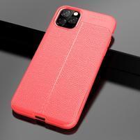 Litchi textúrovaný gélový obal na mobil Apple iPhone 11 Pro Max 6.5 (2019) - červený